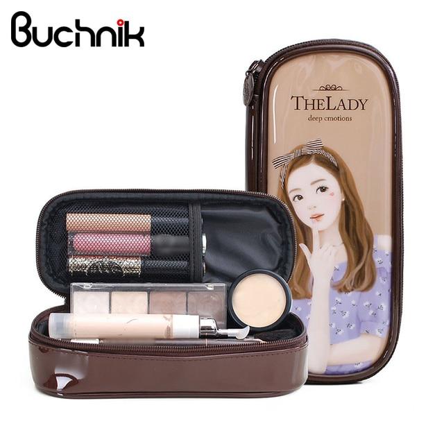 0d6267fd9 Mini bolsas de cosméticos de cuero patentado para dama herramientas de  maquillaje organizador bolsa de lavado