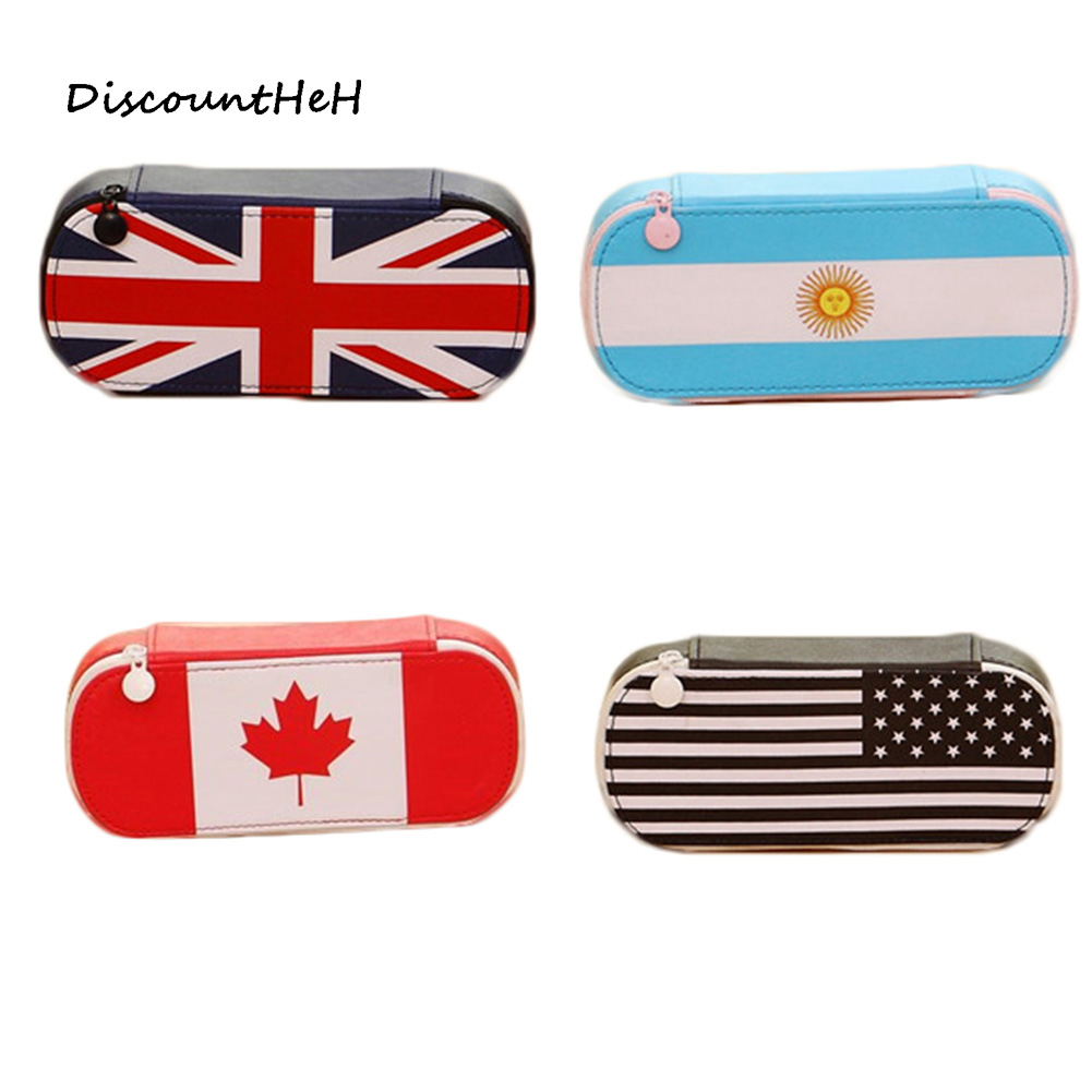 Kawaii Flag Series Pencil Case Cute Pencil Bag Canvas Big Pencilcase for Girls Boys Pen Bag School Supplies Stationery big capacity high quality canvas shark double layers pen pencil holder makeup case bag for school student with combination coded lock