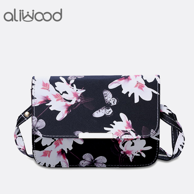 Aliwood Printing Women bags Crossbody bags PU Leather Fashion Flower Shoulder bag Females Purse Handbags small Messenger bags