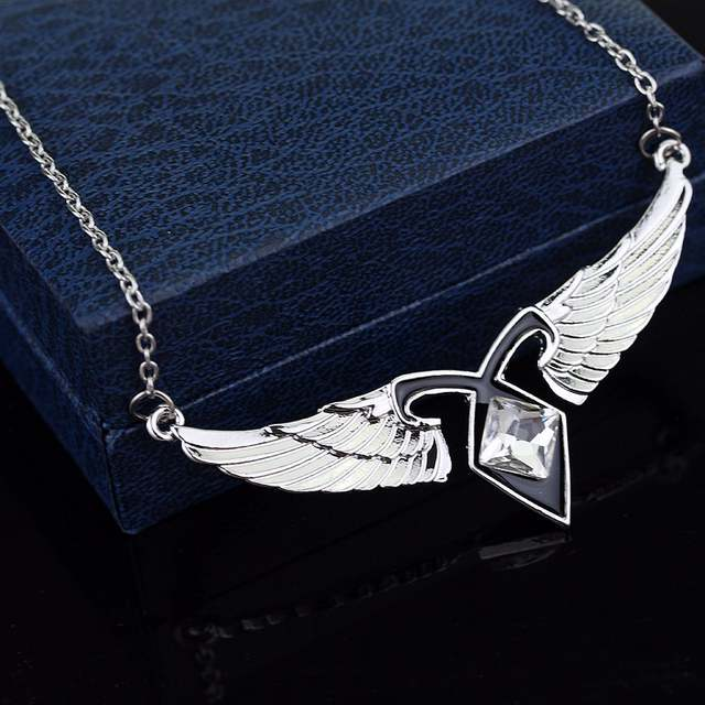 US $1 8 |mortal instruments City of Bones Ashes Angel Wings Power Rune  Pendant Necklace Vintage Style Statement Necklace-in Pendant Necklaces from