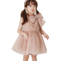 Kids Girls Summer Big Bow Bling Star Glitter Princess Party Dresses Children Fashion Formal Gown Prom