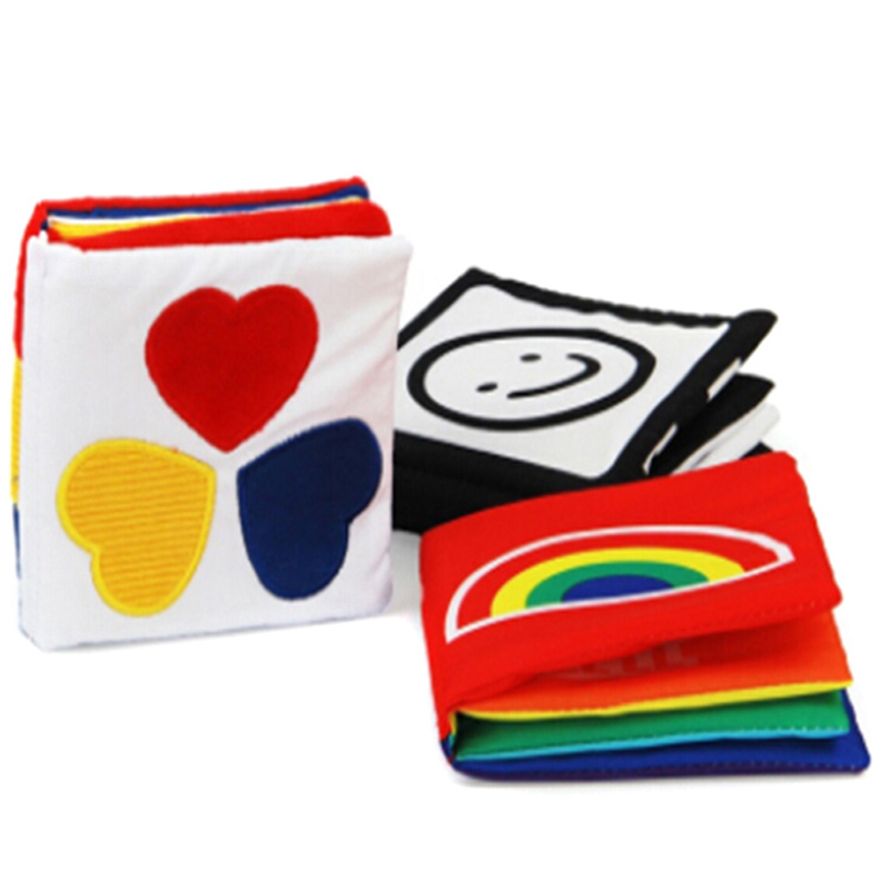 Newborn Baby First Colorful Soft Cloth Infant Book Kids Educational Rattler Toy Stimulate Vision Book With Paper BB Sounds