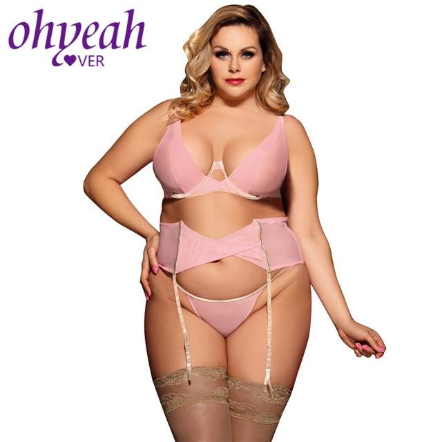 Ohyeahlover Pink Bras Plus Size Lingerie Set Bra+Garterbelt+Panty Bralette Set  Underwear Sexy Underwear Women Set RV80465 002e8d4f9
