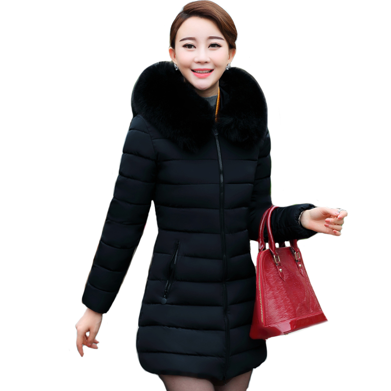 Artificial fur collar plus size XL-5XL winter jacket women hooded slim coat long warm padded   parka   casaco feminino inverno solid