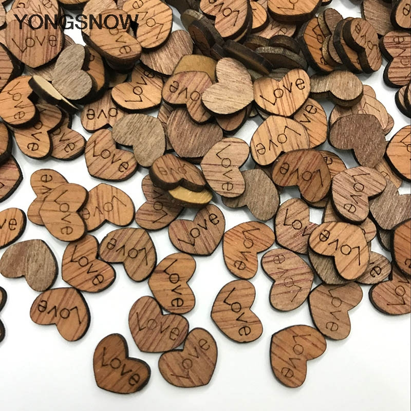 200 Unfinished Wooden Shapes Heart Embellishments for Wedding Crafts 12x15mm