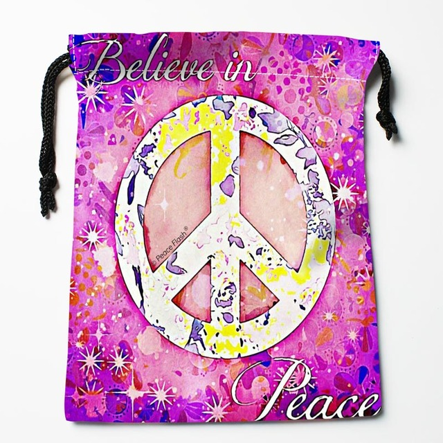 Best Peace Pattern Drawstring Bags Custom Storage Printed Receive