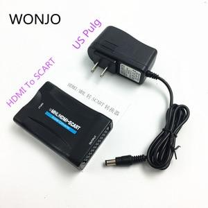 Image 5 - Convertidor HDMI a SCART compuesto Audio Video PAL HDCP Blu Ray DVD STB SKY con soporte de fuente de alimentación 1080P