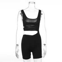 Black Cut-Out Sexy Backless Playsuits Casual Fitness Summer Bodycon Jumpsuit Women Fashion Body Stretchy Shorts