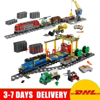 DHL Lepin 02008 Cargo Train 02009 Heavy Haul Train City Series Educational Building Block Bricks Model
