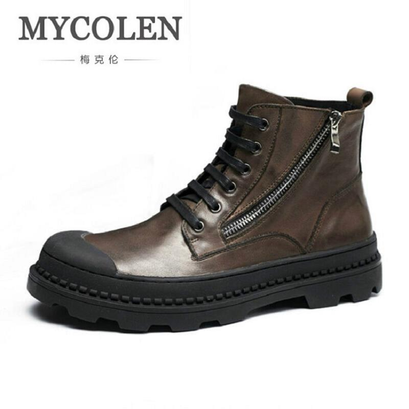 MYCOLEN New Winter Men Fashion Genuine Leather Martin Boots Casual Men Leather Brand Winter Safety Shoes Men Motorcycle Boots 2017 new spring imported leather men s shoes white eather shoes breathable sneaker fashion men casual shoes