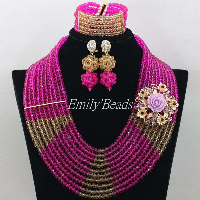 New! Nigerian Wedding African Beads Jewelry Set Crystal Fuchsia Hot Pink Costume Bridal Necklace Bracelet Earrings AMJ650