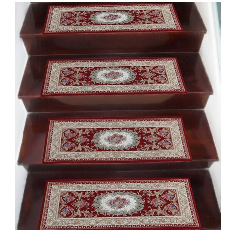 Jacquard Weave Home Decorations Pastoral Style Floral Stair Stepping Mats Living Room Stairs Tread Carpet Step Rug