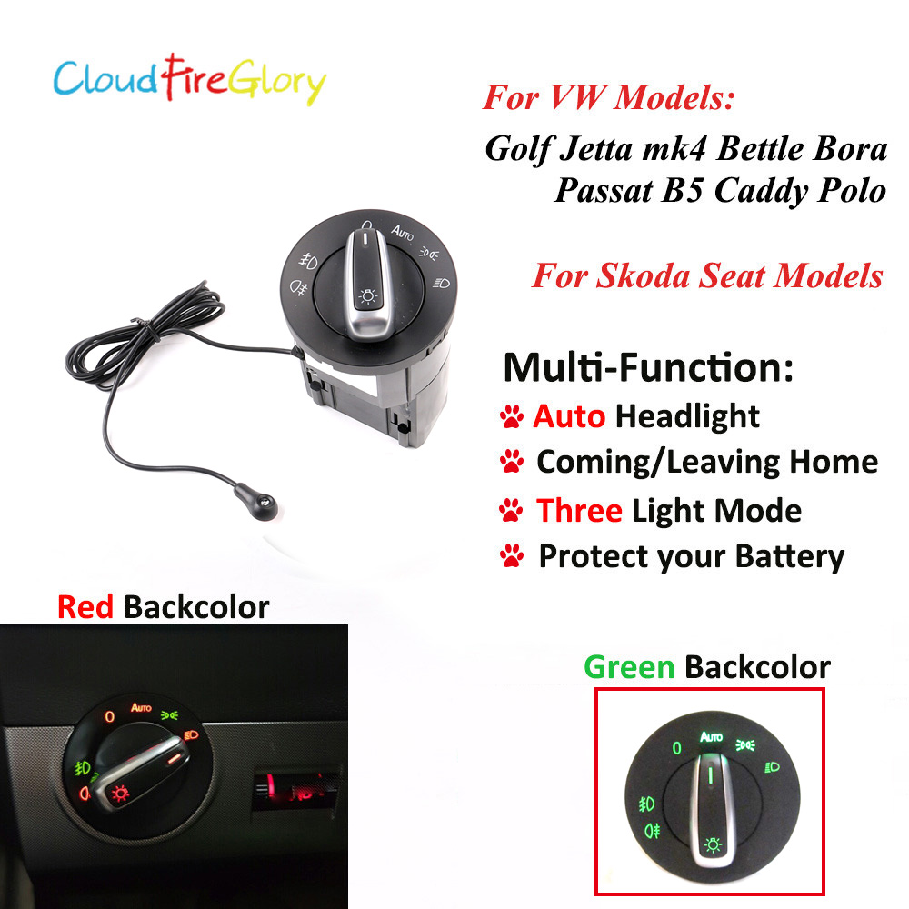 CloudFireGlory AUTO Headlight Lamp Switch Light Sensor Module For VW Golf Jetta MK4 Passat B5 Polo