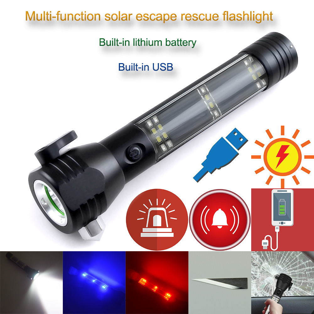 Cree R5 3800LM Multifunctional Solar Waterproof Rechargeable Led Flashlight with Safety Hammer Power Bank and Alarm Function