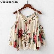 Qiukichonson Cotton Floral Print Shirt Women Cropped Cold Shoulder Tops Ladies Casual Bohemian rose print Shirt Summer Blouses