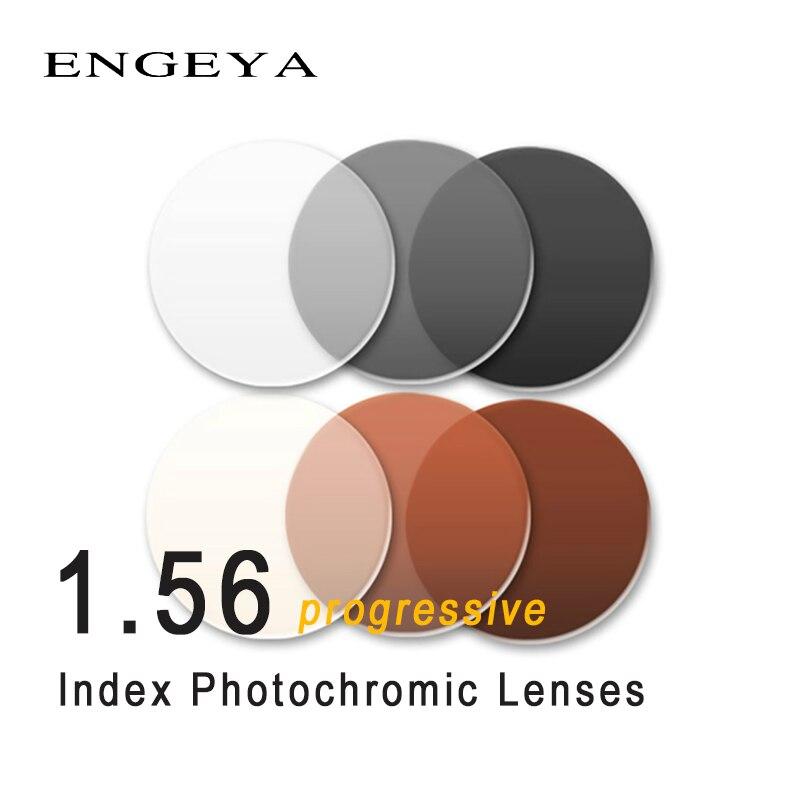 Lentilles photochromiques progressives à indice 1.56 lentilles de Transition grises brunes pour lentilles de lunettes de soleil à Prescription optique