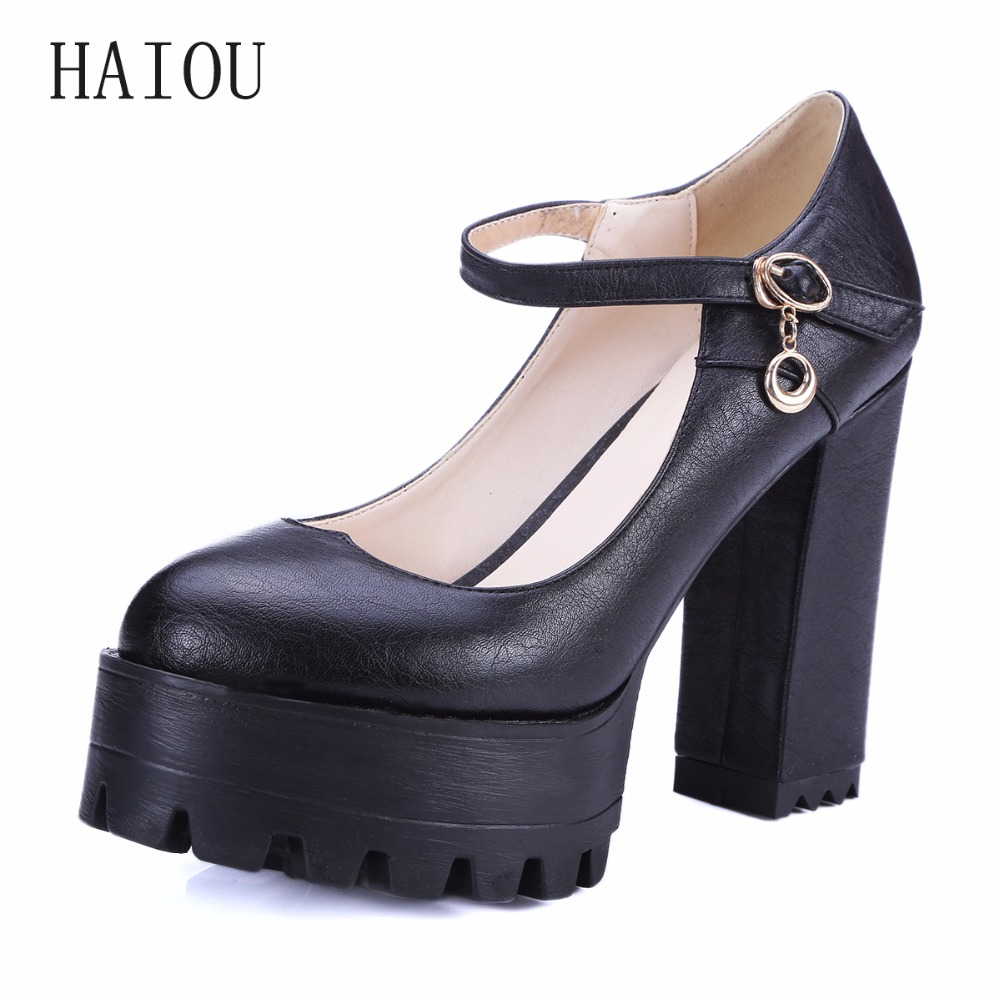 HAIOU New 2017 Spring Lady Shallow Thick High Heels Shoes Black White Buckle Shoes Round Toe High Heels Platform Pumps Elegant