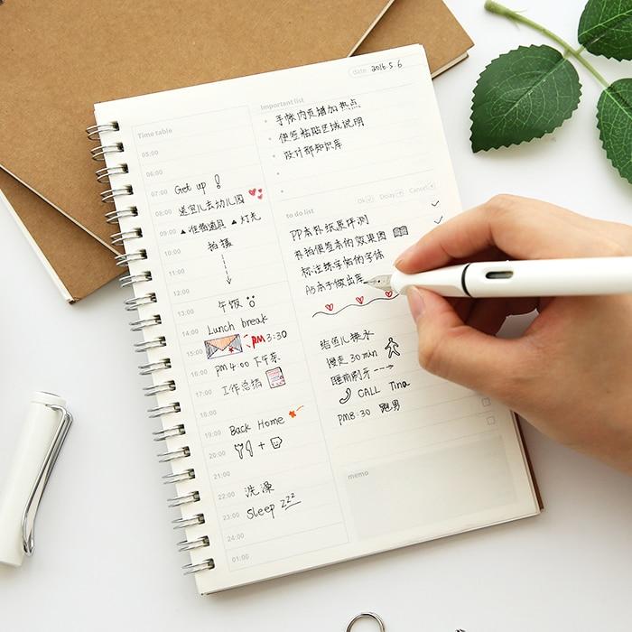 Style Retro Vintage Kraft Paper Spiral Time Management Notebook Timeline Efficiency Daily Agendas Planner Book Memo Pad