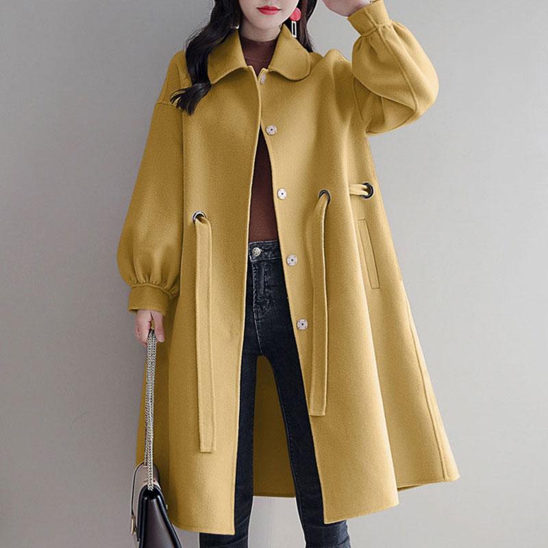 Solide à lacets mi-long laine mélanges manteaux décontracté lanterne manches lâche laine manteaux hiver femmes mode chaud outwear nouveau