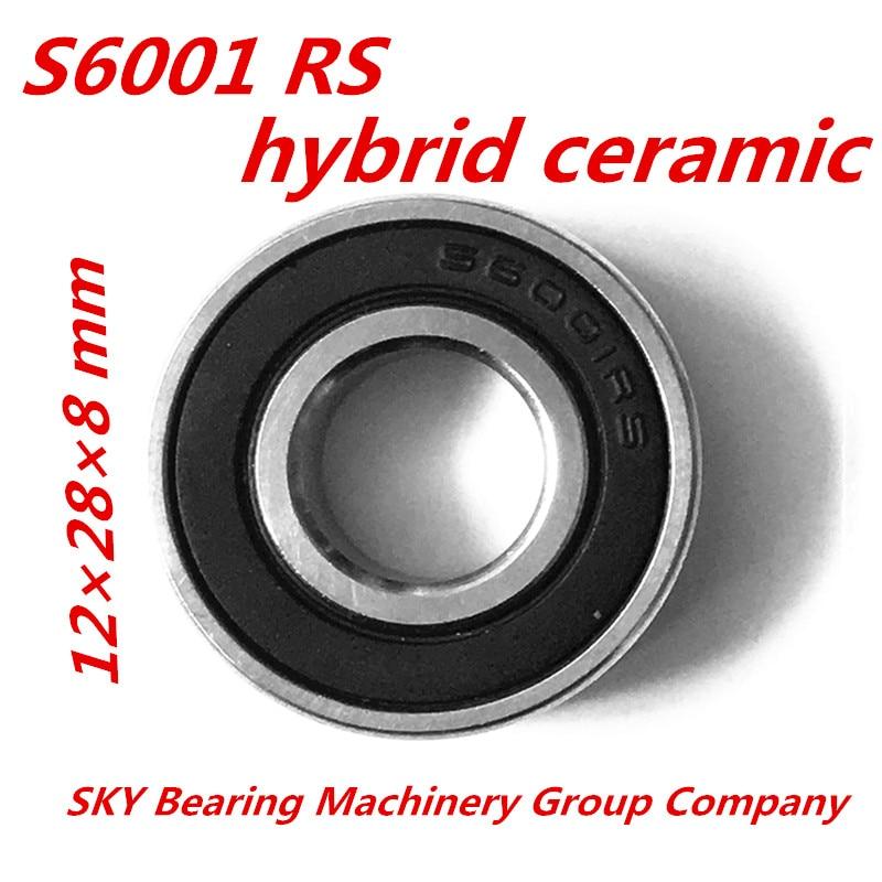 Free Shipping 6001ZZ  6001 SI3N4  6001ZRO2  S6001 2RS  CB ABEC5  Stainless Steel Hybrid Ceramic Bearings/Bike Bearings free shipping 4x7x2 5 metal shields bearings abec 7 stainless steel smr74 zz
