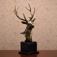 retro and nostalgic home decor creative feng shui deer head christmas resin sculpture decoration animal figurines high quality