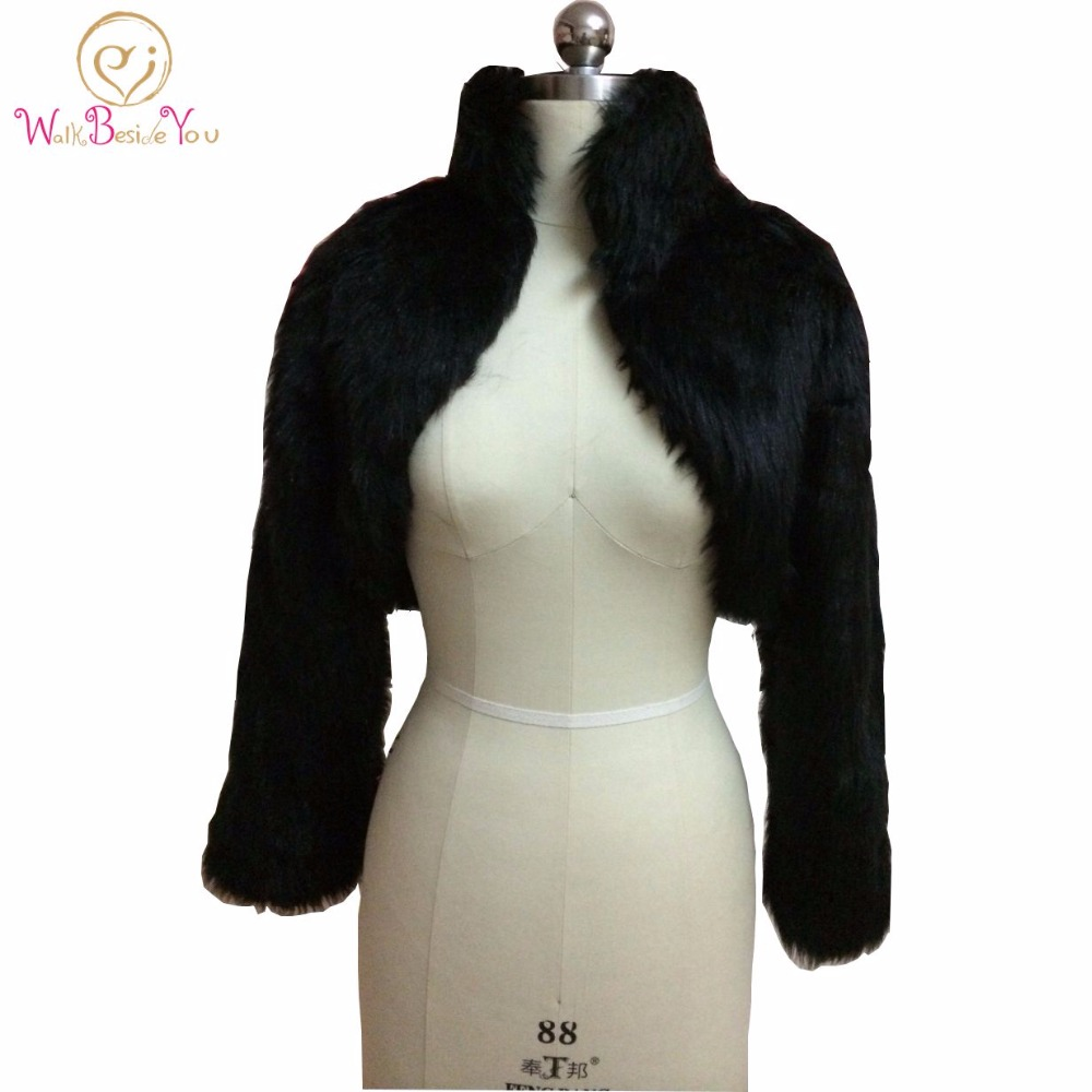 Fashion Black Faux Fur Coat Bridal Wrap Long Sleeve Jacket Shawl Cape Stole Bolero Ivory Fake Fur Bridesmaids Cape
