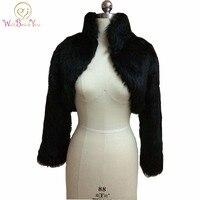 Fashion Black Faux Fur Coat Bridal Wrap Long Sleeve Jacket Shawl Cape Stole Bolero Ivory Fake
