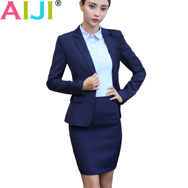 8059a9743dda5 AIJI fashion women skirt suit set business interview formal long sleeve slim  blazer and pants office ladies plus size work wear