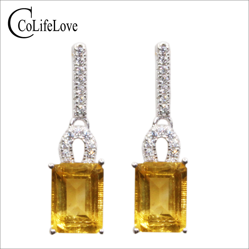 Classic silver drop earrings for wedding 6 mm 8 mm natural VVS citrine earrings solid 925