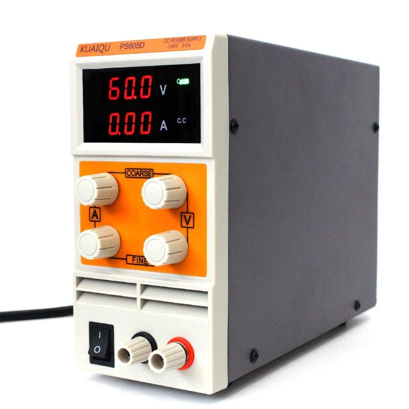 KUAIQU Мини DC ПИТАНИЕ 30 в 60 в 120 В 5A 10A импульсный лабораторный Цифровой переменный Регулируемый блок питания 0-60 в 0-5A PS605D