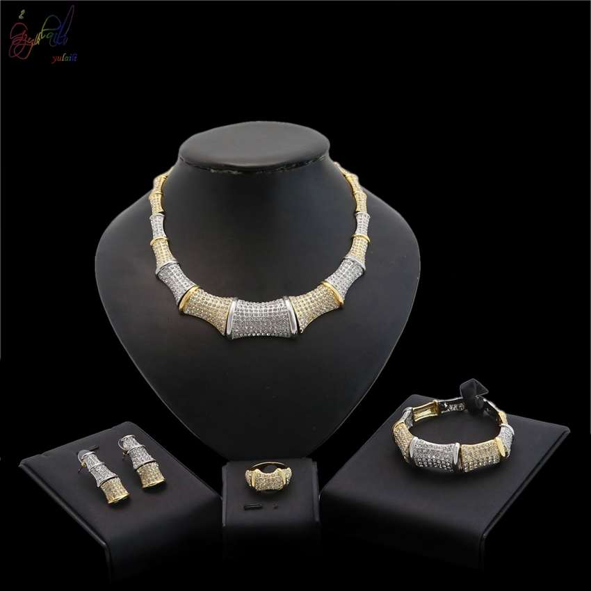 YULAILI 2018 Women Bridal Wedding Jewelry Sets High Quality Pure Gold Color Necklace Earrings Bracelet Ring for Party wholesale fashion gold color alloy rhinestone wedding jewelry sets necklace bracelet ring earrings for women bridal