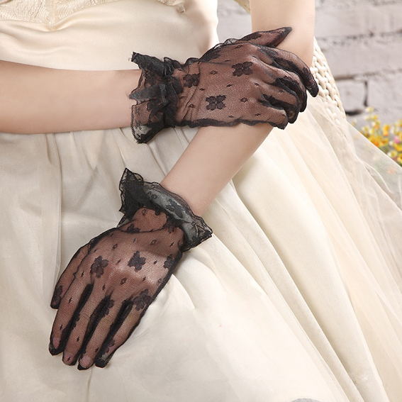 PADEGAO Elegant Prom Wrist Lace Up Gloves Black Lace Flower Party Gloves Jacquard Pattern Sun Protection Gloves Bride Mittens