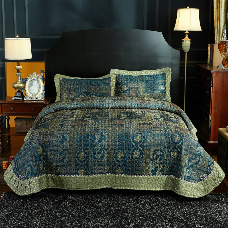 FAMVOTAR Classic European Style Quilted Bedspread Vantage Shabby Flax Linen Bedspread Queen Size 4 Season Coverlet
