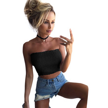 Women bandeau off shoulder Crop Top Solid Strapless Top Bandeau Elastic Ruched Ruffle Sleeveless Backless Sexy wrap top female