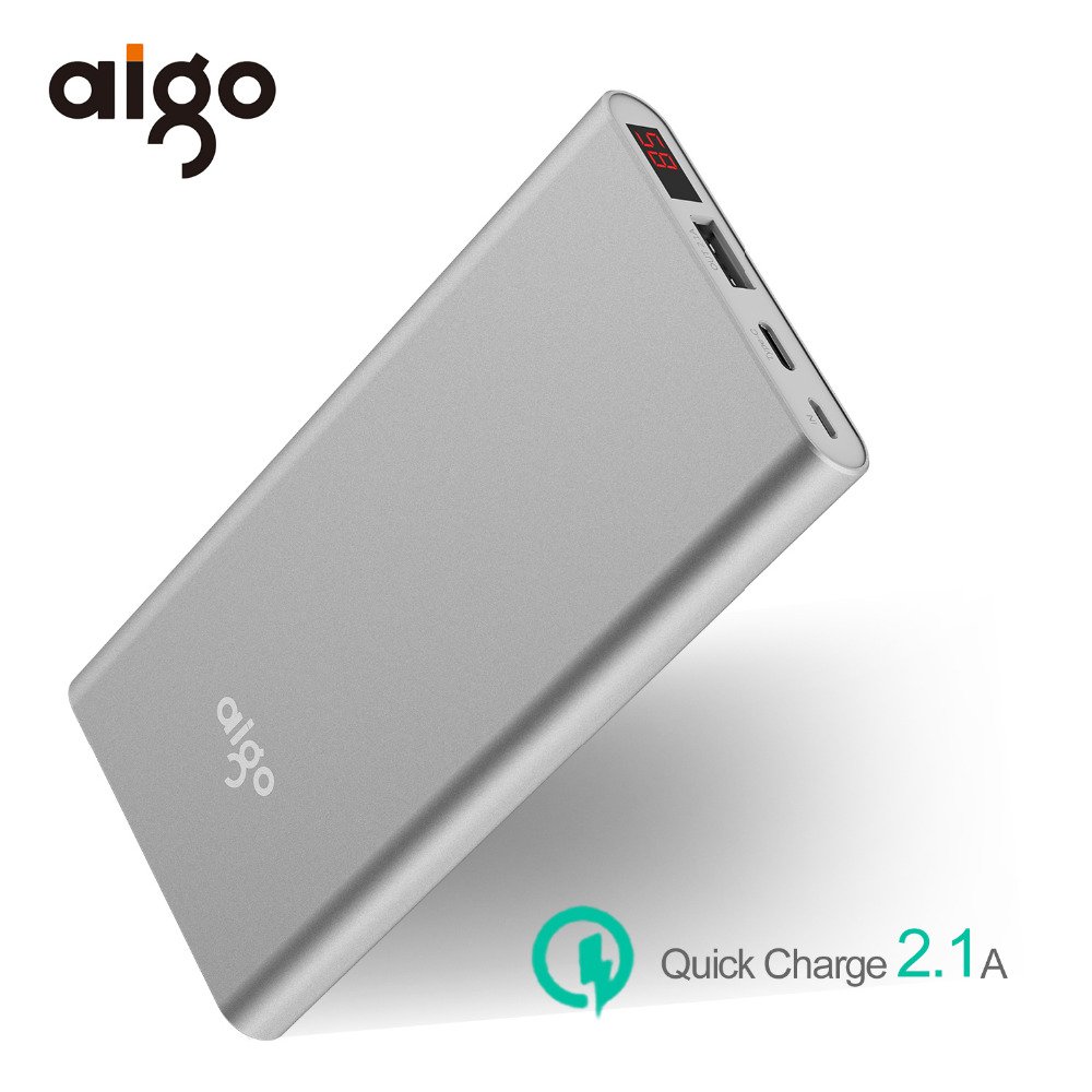 Aigo 10000mAh Power bank Type C Micro USB 2 inports Ultra Slim LCD Display Li-polymer Fast Charger External Battery For xiaomi