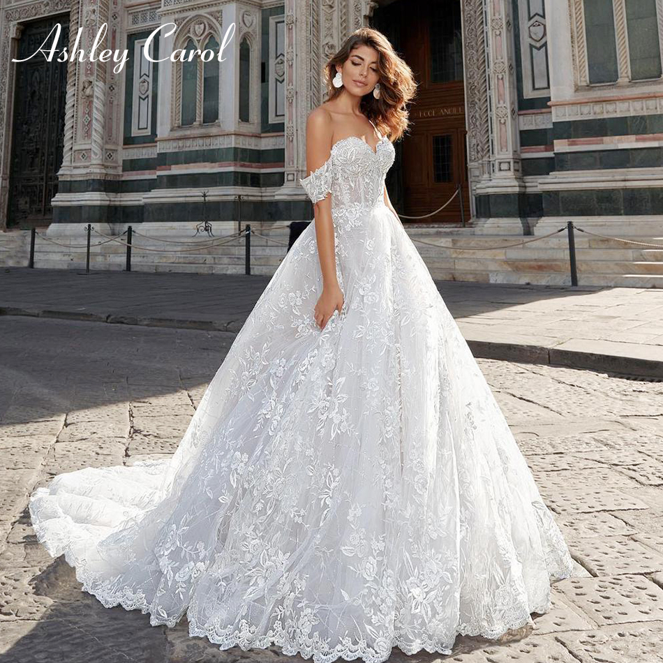 Ashley Carol Sexy Sweetheart Cap Sleeve Backless Lace Wedding Dress 2019 Chapel Train Appliques Romantic Princess Wedding Gowns