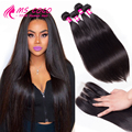 Brazilian Virgin Hair With Closure 8A Human Hair Bundles Ali Grace Hair With Closure Brazilian Straight Hair With Lace Closure