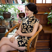 Hot Traditional Chinese Dress Spring Black Sexy Lace Cheongsam Dress Short Sleeve Qipao Dress Chinese Clothing S TO XXL
