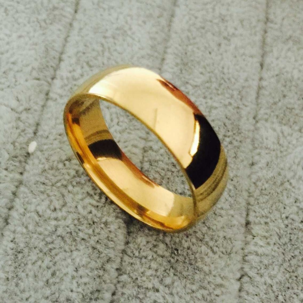 gold plate men  titanium rings for men 8mm cool jewelry