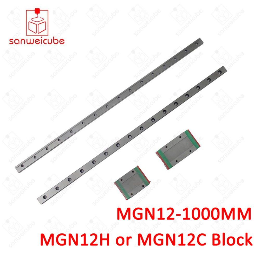 12mm for Linear Guide MGN12 1000mm L= 1000mm for linear rail way + MGN12C or MGN12H for Long linear carriage for CNC X Y Z Axis цены онлайн