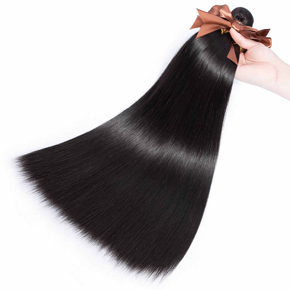 Clover Leaf Human Hair Peruvian Hair With Closure 8-28 Inch Natural Color Hair Weave 3 Bundles With Closure 4*4 Remy Three Part