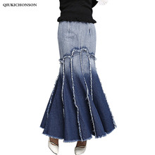 2017 new women style spring and summer expansion & fishtail Denim skirt Pleated