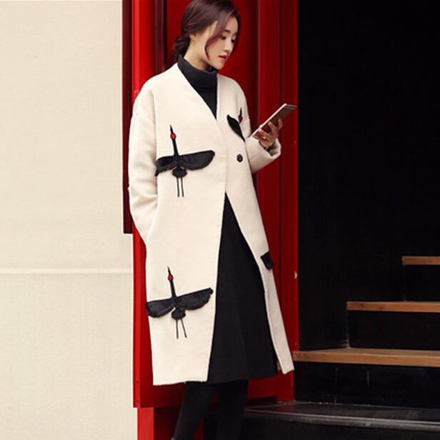 GUTU European Station 2017 new women in autumn and winter long woolen jacket Korean version