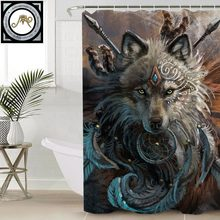 Wolf Warrior by SunimaArt Shower Curtain Waterproof Indian Wolf With Dreamcatcher Bath Curtain With Hooks for Bathroom 180x180(China)