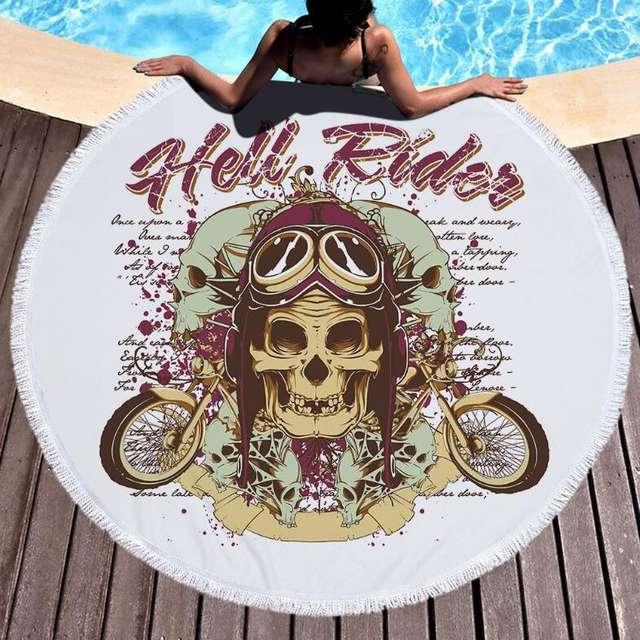 HELL RIDER SKULL ROUND BEACH TOWEL