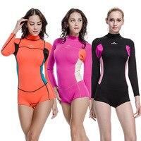 SBART Neoprene Wetsuit Women 2MM One Piece Long Sleeve Rubber Swimsuit Womens Spearfishing Surf boating Swim Diving Wet Suit