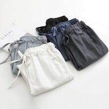 2019 Spring Summer Cotton Linen Harem Pants Women Drawstring High Waist Trousers Women Casual Pants Sweatpants Pantalon C4216