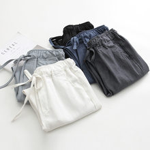 2020 Spring Summer Cotton Linen Harem Pants Women Drawstring High Waist Trousers Women Casual Pants Sweatpants Pantalon C4216