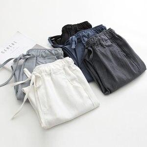 Image 1 - 2020 אביב קיץ כותנה פשתן הרמון מכנסיים נשים שרוך גבוהה מותניים מכנסיים נשים מכנסי קזואל טרנינג Pantalon C4216