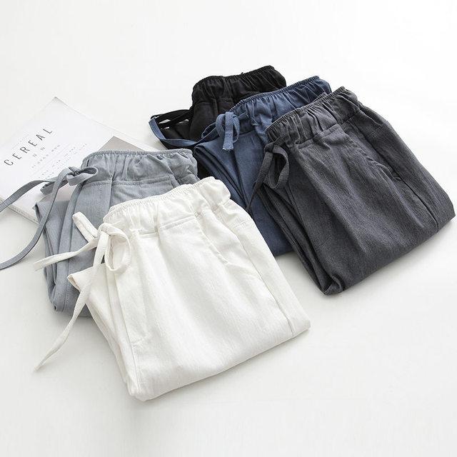 2020 אביב קיץ כותנה פשתן הרמון מכנסיים נשים שרוך גבוהה מותניים מכנסיים נשים מכנסי קזואל טרנינג Pantalon C4216
